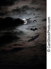 bat full moon - bat flock drawing against the real full moon