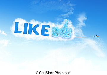Thumb up like hand symbol with tag cloud of word on the sky