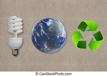 Environmental symbol on the Paper texture background