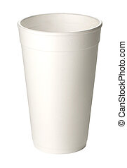 foam cup - close up of coffee cup on white background with...
