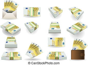 full set of two hundred euros banknotes