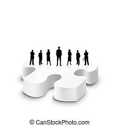 Group of business man stand on a 3d puzzle over white background