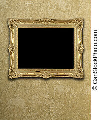 Empty exposition in gold frame
