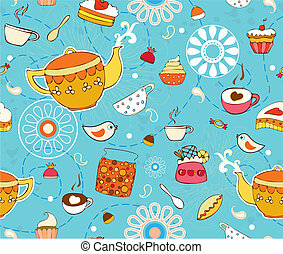 Tea Cake Seamless Background