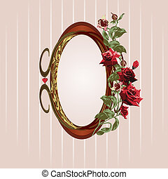 Vintage floral frame with red roses