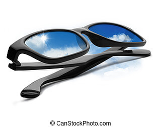 A pair of black glasses with blue sky