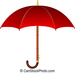Red umbrella with wooden handle