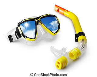 mask and snorkel for scuba diving with blue sky in...