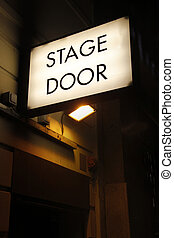 London theatre - Illuminated sign at theatre in London's...