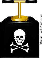 Detonating fuse with danger sign skull symbol on white...