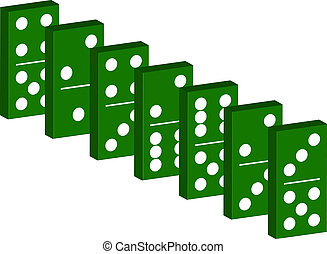 Domino in green design isolated on white background