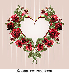 Framework from red roses in the shape of heart