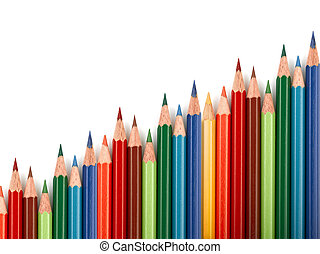 Business graph illustrating increase made up of colored...
