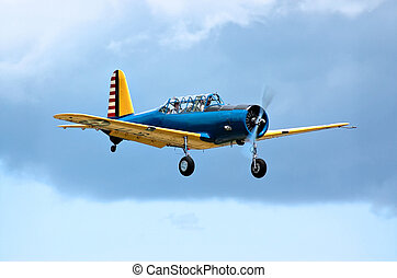 Over the clouds in a Valiant trainer - 1944 Vultee BT-13B...