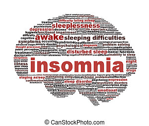 Insomnia symbol isolated on white background Sleep disorder...