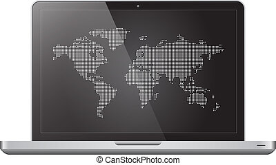 Dotted world map in laptop