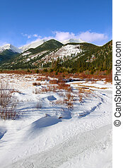 Rocky Mountain National Park - Fall River frozen over on a...