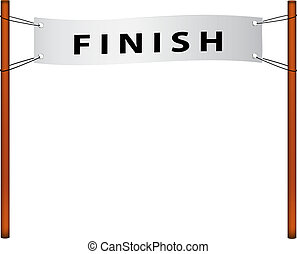 Finish line u2013 ribbon with finish on white background
