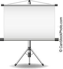 Projection screen (projector roller screen) on white...