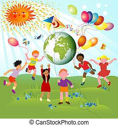 Children of different races and planet; joyful illustration...