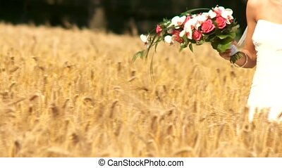 Wedding Couple in Cornfield - video footage of a wedding...