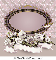 Frame with white roses