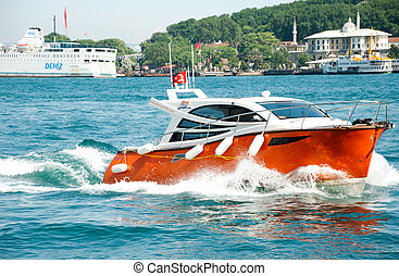 Motor Boat - Speed motor boat in the sea