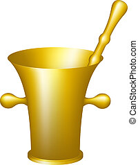 Golden mortar and pestle on white background