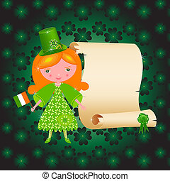 St. Patrick's Day card with girl