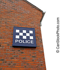 Police Station Sign - Detail of police station and sign on...