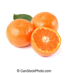 Fresh orange mandarins and half with leaf