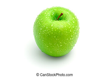 Fresh green apple with drops