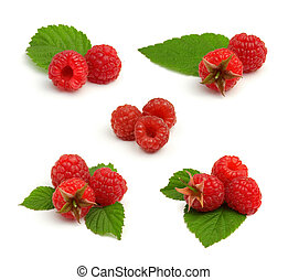 Set of red ripe raspberry heaps with leafs - Set of red ripe...