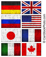Grunge Great 8 (G8) Countries Flag - Grunge Dirty and...