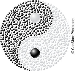 Ying Yang made from black and white spheres on white...