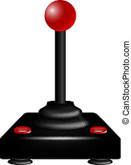 Joystick in retro design on white background