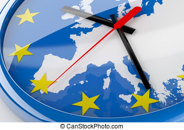 Euro Time - Euro crisis concept created in 3D A clock with...