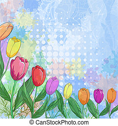 Flowers tulips on abstract background