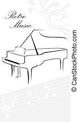 鋼琴, 黑色半面畫像, 注釋
