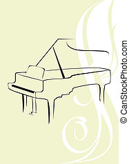 Piano on the decorative background - Silhouette of piano on...