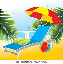 Empty deckchair under an umbrella. Vector illustration