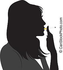 抽煙, 婦女, 黑色半面畫像