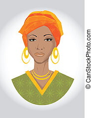 vector illustration of an african woman