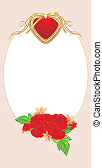 Red roses with heart. Frame