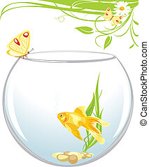 Goldfish and butterfly sitting on an aquarium. Spring...