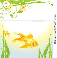 Goldfishes among algae. Vector illustration