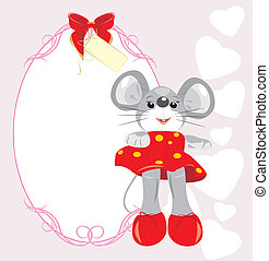 Greeting card with mouse toy