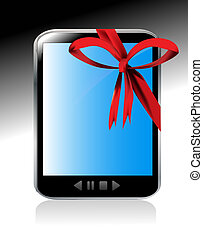 Tablet computer with red ribbon