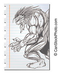 Hand drawn Werewolf