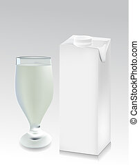 Glass of milk with a milk pack